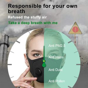 1 x Reusable Anti PM2.5 activated carbon mask (Black)